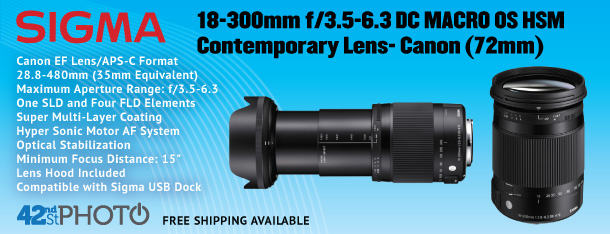 Sigma 18-300mm f/3.5-6.3 DC Macro OS HSM Contemporary Lens- Canon (72mm)